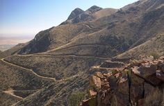 View of trails from Mundy's Gap, Franklin Mountains State Park, El Paso, Texas