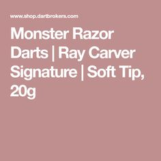 """Ray """"The Razor"""" Carver signature model darts from Monster Barrels Design. Soft tip, 20 grams. Monster flights and shafts, L-Style Lippoint tips included. Darts, Tips, Model, Advice, Scale Model, Dart Flights, Template, Modeling"""