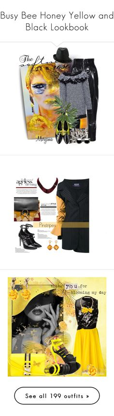 """""""Busy Bee Honey Yellow and Black Lookbook"""" by yours-styling-best-friend ❤ liked on Polyvore featuring yellow, black, hot, bee, bumblebee, Philosophy di Lorenzo Serafini, Philip Treacy, Venus, Revo and Jacquemus"""