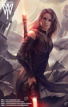 """emberwillowtree: """" Imagen artística de Rey representada como una Sith Con una espada láser de dos hojas Rey parece más una integrante del lado oscuro de la fuerza que una Jedi, viéndola a través del arte de Wisyakuza. """""""