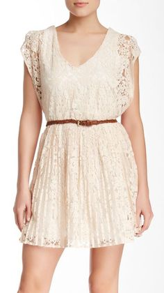 Want & Need | Faux Leather Belted Lace Skater Dress