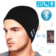 Snow forest Bluetooth 5.0 LED Beanie Hat with LED Light Built-in Stereo Speakers and Mic Warm Hat Rechargeable Wireless Headphones Tech Caps for Sports and Outdoors