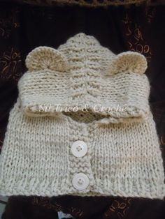Sil Tricô: Receita : Gola capuz com botões para bebê em tricô