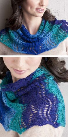 Free Knitting Pattern for One Skein Rippling Fans Cowl - Lace cowl designed for multi-colored yarn but also works with solid colors. Uses just one skein of the recommended yarn (440 yards). Fingering weight yarn. One of the free patterns in the free ebook 7 Free Knitted Cowl Patterns. Designed by Gladys We.