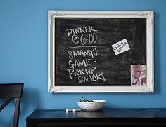 Paint your frame's backing with chalkboard paint, or if it isn't included, paint a piece of wood that's been cut to fit your frame. Once mounted, your stylish new chalkboard can be used for lists—like groceries or much-needed school supplies.