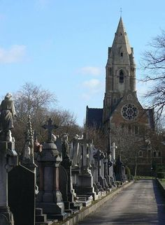 View of St Andrew's Church Nottingham, taken from the Church Rock Cemetery. The Church is often known as 'The Church on the Rock'. Cemetery Statues, Cherubs, Nottingham, Ancestry, Family History, The Rock, Yards, Abandoned, Angels