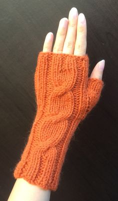 One Cable Fingerless Gloves/Hand Warmers/Manicure Gloves (Orange Mix) Shrug Knitting Pattern, Baby Knitting, Knit Leg Warmers, Hand Warmers, Fingerless Gloves Knitted, Knitted Hats, Knitted Headband, Knitting Accessories, Knitting Patterns