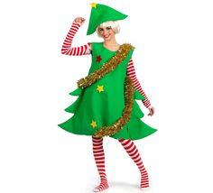 Disfraz de Arbol de Navidad Deluxe para mujer. Alta calidad, hecho en España. Disponible en varias tallas. Incluye camisa, vestido, gorro y medias.