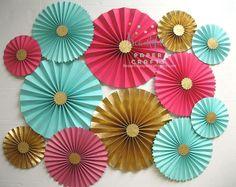 12pc Hot Pink Aqua and Gold Glitter Rosettes Paper Fans