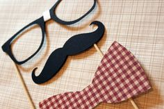 Mustache, Bow Tie, and Geek Glasses on a Stick -  Three Peice Photobooth Prop Set. $11.00, via Etsy.