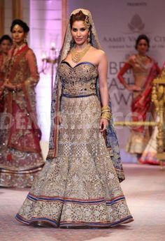Fashion designer Mandira Wirk presented some of her latest creations during the Aamby Valley Indian Bridal Fashion Week (IBFW) 2013 in Mumbai, India.