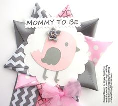 Pink and Gray Chevron Bird Birdie Baby Shower Corsage Mommy To Be Pin by Crazy Craft Frog #babyshowercorsage #pinkandgray #birdbabyshower
