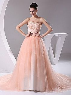 Appliqued Strapless Wedding Gown with Tulle Layers - USD $188.00
