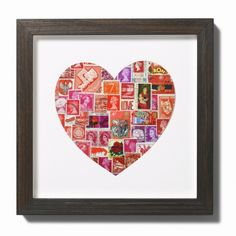 stamps in heart-shaped matting