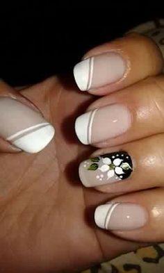 Nail Tip Designs, Natural Acrylic Nails, Pretty Toe Nails, Neutral Nails, Flower Nails, Easy Nail Art, French Nails, Manicure And Pedicure, Diy Nails