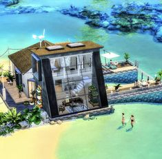 Sims 4 House Design, Sims 4 Houses, House Plans, New Homes, Architecture, Building, Interior, Painting, Beautiful