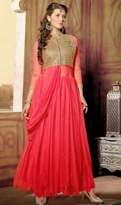 Flaunt your unique ethnic style and walk out with pride draping this pale coral net embroidered long Anarkali suit. The self work appears chic and aspiration for any function.  #LongLengthAnarkaliDresses