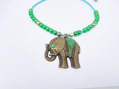 beaded Indian elephant necklace by blackjadecrafts on Etsy