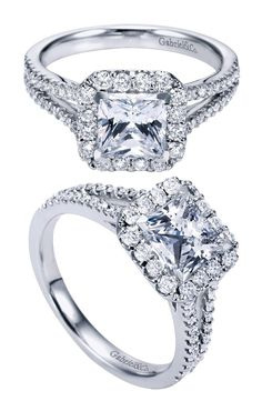 Would you say YES to this ring? A 14k White Gold Contemporary Halo Engagement Ring.