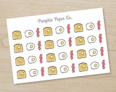 Breakfast reminder stickers, eggs, bacon, toast, planner stickers, grocery reminder stickers, food stickers, 36 stickers, PPC60 by PumpkinPaperCo on Etsy https://www.etsy.com/au/listing/266733750/breakfast-reminder-stickers-eggs-bacon