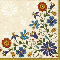 Polish Folk Art Napkins (package of 20) - 'Kaszub Bouquet""
