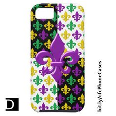 This fun iPhone case features a festive purple, green, and gold fleur-de-lis Mardi Gras pattern above black and white blocks and topped with a purple fleur de lis. https://www.zazzle.com/mardi_gras_gold_purple_and_green_fleur_de_lis_iphone_se_5_5s_case-179013103721426630?rf=238083504576446517&tc=20170508_pint_SSOZ #accessories #MardiGras #StudioDalio Zazzle