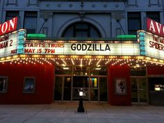 Godzilla on the marquee of the Avon Theater; downtown Decatur Illinois