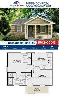 Cozy yet comfortable, Plan details a 432 sq. Cottage home design with 1 bedroom, 1 bathroom, and an open floor plan. 1 Bedroom House Plans, Guest House Plans, Sims House Plans, Small House Floor Plans, Cottage Floor Plans, Guest Cottage Plans, Small House Kits, Unique Small House Plans, Small Cottage Plans