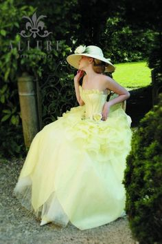 Another pretty feminine Sissy Dress for julia to wear on Sunday Colored Wedding Dresses, Wedding Dress Styles, Wedding Gowns, Frilly Dresses, Cute Dresses, Flower Girl Dresses, Beautiful Costumes, Beautiful Gowns, Gowns Of Elegance