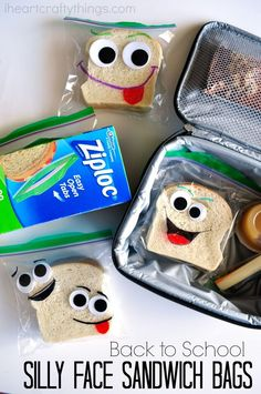 These back-to-school DIY silly face sandwich bags make perfect lunch box notes for the first day of school. Fun school lunch ideas for kids. Toddler Snacks, Fun Snacks For Kids, Kids Meals, Kids Lunch For School, Diy Back To School, School Lunches, School Fun, School Ideas, Sac Lunch