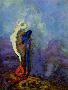 "'The Dream' - Odilon Redon - ""While I recognize the necessity for a basis of observed reality…true art lies in a reality that is felt. Odilon Redon, Arte Horror, True Art, Art Abstrait, Gustav Klimt, Oeuvre D'art, Painting Inspiration, Kitsch, Les Oeuvres"