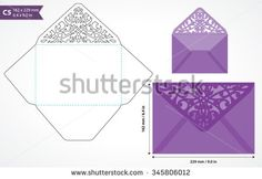 Die cut envelope template vector. Standard c5 size designed envelope to hold a5 size card. Envelope mockup with swirly cutout flap. Wedding invitation envelope for cutting machine of laser cutting. - stock vector