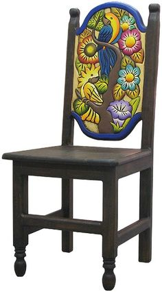 Carved and painted chair