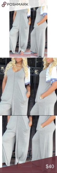 Brand New Jumpsuit💫💫 Leisure V Neck Grey Cotton One-piece Jumpsuits (without the T-Shirt) beautiful and comfortable with pockets and.....BRAND NEW💫💫 Tops