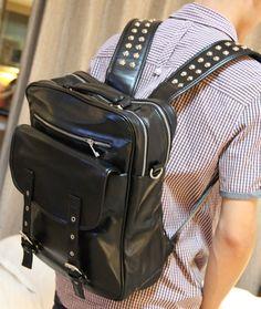 stacy  bag brand high quality popular men Rivet leather backpack male casual travel backpack women travel bag school bag $18.00 - 22.00