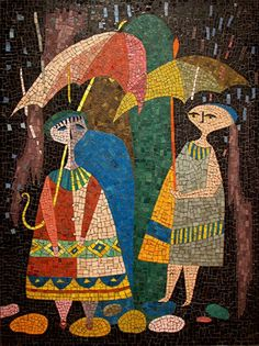Figures in the Rain with umbrella abstracted. – Evelyn Ackerman Mosaic~ rain mosaic