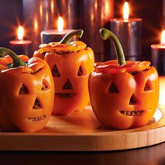 5 Ingredient Pepper Pumpkins! Great dinner idea on Halloween  4 Orange Bell Peppers, Ground beef, Pepper Jack Cheese, chopped onion and Tex-Mex Rub or similar seasoning