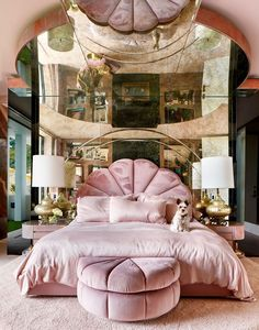 Slim Aarons Meets Casino in This Lenny Kravitz Designed Hilltop Home Slim Aarons Meets Casino in This Lenny Kravitz Designed Hilltop Home Alice Lane Home Collection alicelanehome Bedrooms The master bedroom channels nbsp hellip master bedroom pink