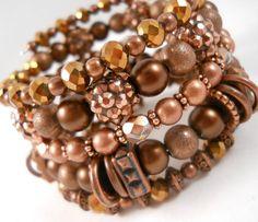 Copper Bracelet Stack Autumn Jewelry Wrap by foreverandrea on Etsy