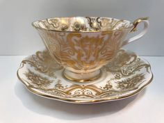 Majestic by Royal Albert Bone China Gold Teacups Antique Teacups Antique Tea Cups Vintage Anniversary Teacups Teatime Teacups Tea Cup Set, Cup And Saucer Set, Tea Cup Saucer, My Cup Of Tea, Tea Sets Vintage, Vintage Teacups, English Tea Cups, Antique Tea Cups, China Cups And Saucers