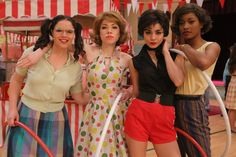 Kether Donohue, Carly Rae Jepsen, Vanessa Hudgens, and Keke Palmer on the set of Grease Live!