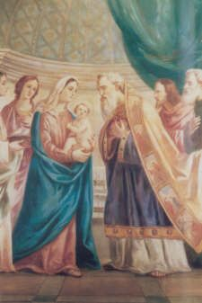 """The Fourth Joyous Mystery - The Presentation. Observing the law of Moses they take Jesus to the temple to present Him to the Lord.  God had revealed to Simeon that he would not see death until he had seen the Messiah.Recognizing the Child, he prays: """"Now you can dismiss your servant in peace. You have fulfilled your word.""""  """"This Child is destined to be the downfall and rise of many in Israel, a sign that will be opposed."""" And to Mary Simeon reveals: """"And your own soul a sword shall pierce."""""""