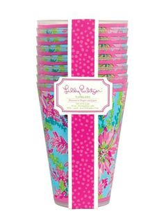 Lilly Pulitzer Tumblers (Set of 8) in Trippin And Sippin $16