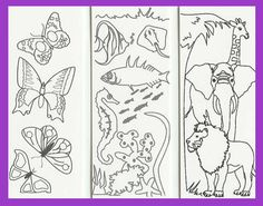 free bookmark coloring pages | Item ci001: ANIMAL set of 3 color-your-own magnetic bookmarks