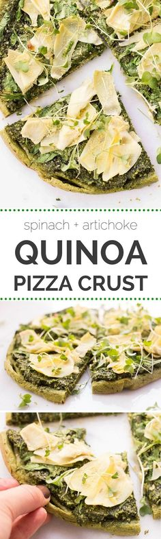 Pizza crust made out of QUINOA! Topped with pesto, spinach, artichokes and nutritional yeast for a nice cheesy flavor {gluten-free + vegan}