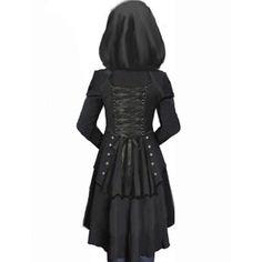 Black Overcoat Corset Hooded Long Sleeve Women's Overcoat
