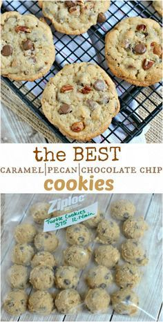 """Caramel Pecan Chocolate Chip Cookies: my favorite cookie recipe! Chewy """"turtle"""" cookies are always a hit!"""