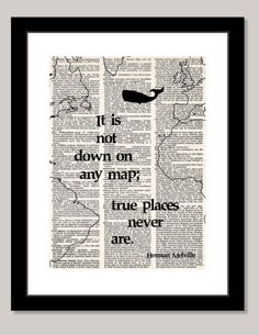 Moby Dick Herman MNelville quote with map and by BluePoppyGallery