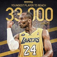Congratulations to @kobebryant on reaching another remarkable milestone and becoming the youngest player to reach 33,000 career points. Kobe is the 3rd All-Time leading scorer in NBA history, surpassing Michael Jordan and trailing NBA legends Karl Malone and Kareem-Abdul Jabbar.
