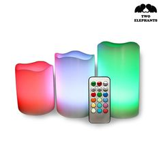 3-Piece Set: Remote Controlled Flameless Candles - 12 color options